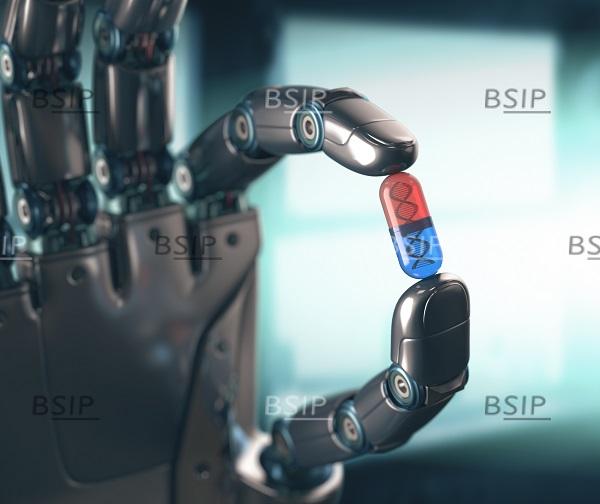 robot saisissant une capsule d'ADN.