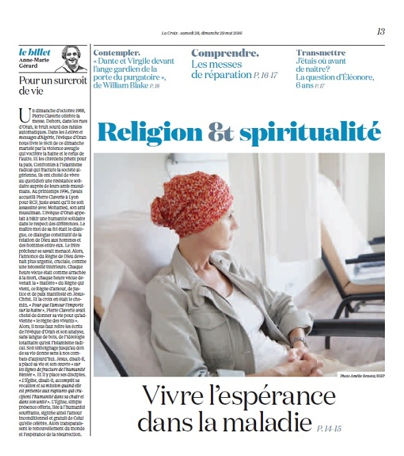 La Croix 28 mai 2016 - Religion & spiritualité